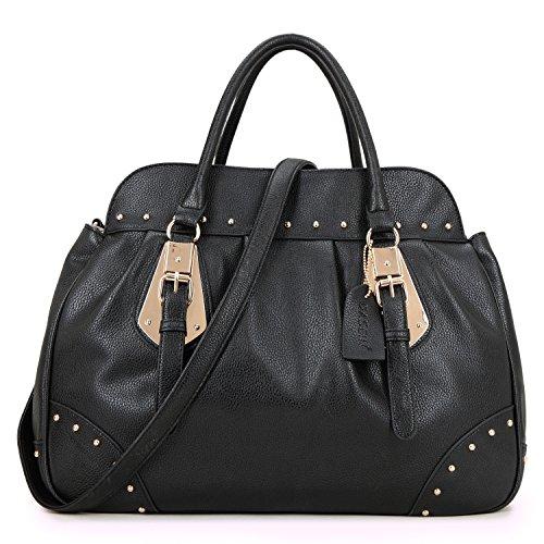 Dasein Women Large Top Handle Handbags Shoulder Purses Studded Satchel Bags (black)