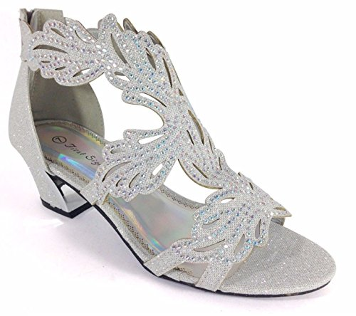 Enzo Romeo Lime03N Womens Open Toe Mid Heel Wedding Rhinestone Gladiator Sandal Wedge Shoes (8.5, Silver)