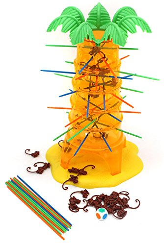 Tumbling Monkeys Games – created for 3+ kids build a large towering tree by inserting colorful tree branches in a tricky pattern on which balances the little monkeys, do not let the monkeys fall!