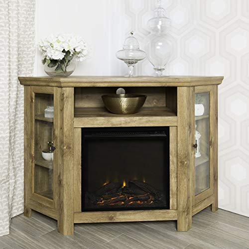 Corner Fireplace TV Stand, Electric Fireplace Heater Entertainment Center for TV to 50'', Contemporary Firebox Cabinet,Storage Shelves,Glass Doors, 4400 BTUs,400 Sq Ft Capacity ()