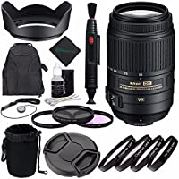 Nikon AF-S DX NIKKOR 55-300mm f/4.5-5.6G ED VR Lens ? + 58mm 3 Piece Filter Set (UV, CPL, FL) + 58mm +1 +2 +4 +10 Close-Up Macro Filter Set with Pouch + Lens Cap + Lens Cleaning Pen Bundle