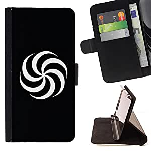 DEVIL CASE - FOR HTC DESIRE 816 - Spiral Black & White - Style PU Leather Case Wallet Flip Stand Flap Closure Cover