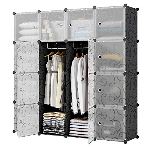 KOUSI Bedroom Armoire Portable Closet Armoire Clothes Armoire Wardrobe Armoire Storage Armoire Organizer with Doors, Capacious Sturdy (Black (Transparent Door), 10 Cubes + 2 ()
