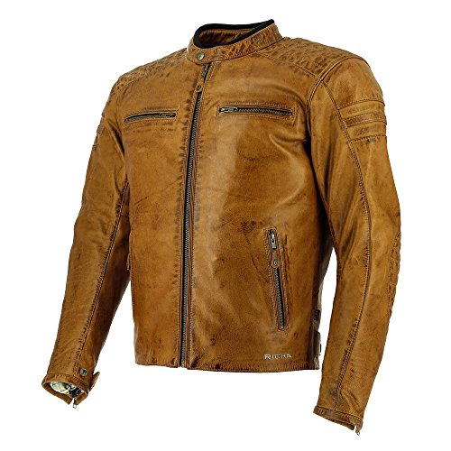 Richa Daytona 60S Vintage Classic Leather Motorcycle Jacket - Cognac 42