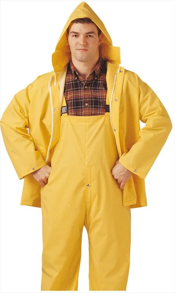 Tingley Comfort-Tuff Suit - Yellow - 2 Pc - Jacket - Storm Fly Front - Attached Hood - Fly Front Overalls - Retail Packed: Industrial & Scientific