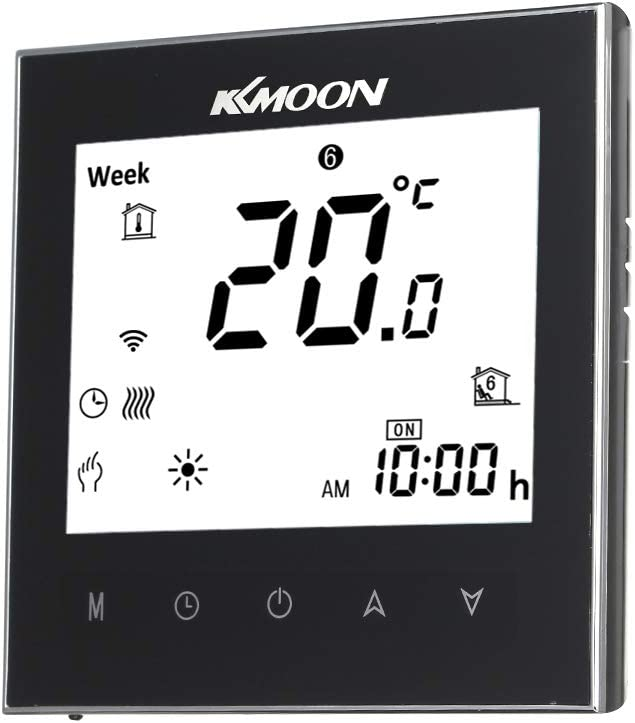 Termostato Inteligente para Caldera de Gas,Wifi Regulador de Sistema,Controlador con Pantalla Negativa Táctil LCD,Programable 5A AC 95-240V (WIFI, negro)