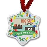 Personalized Name Christmas Ornament, USA Rivers Big Sur River - California NEONBLOND