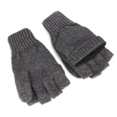 Beautyer Fingerless Knitted Glove Gray Winter Convertible Wool Gloves with Mitten Cover Flap for Men