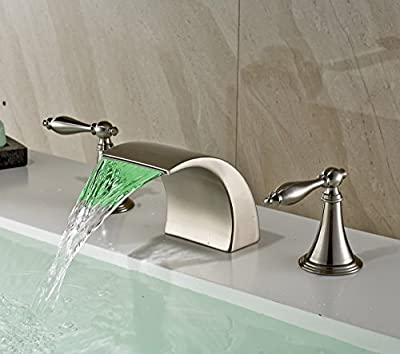 Rozin Brushed Nickel Finish LED Colors Waterfall Bathroom Sink Faucet Deck Mounted Basin Mixer Tap