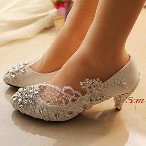 Größe Ivory Heel Schuhe Pump Kristall elfenbein weiß 10 3cm Wohnungen Spitze Braut High 3 Low Hochzeit JINGXINSTORE aBq7w