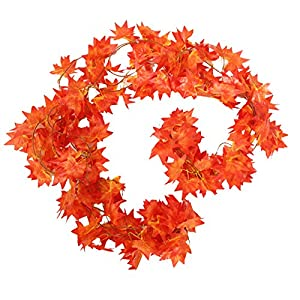 Silk Flower Arrangements Crt Gucy 38 Ft - 5 Strands Autumn Artificial Maple Leaf Garland Fall Decoration For Home Wedding Wall Party