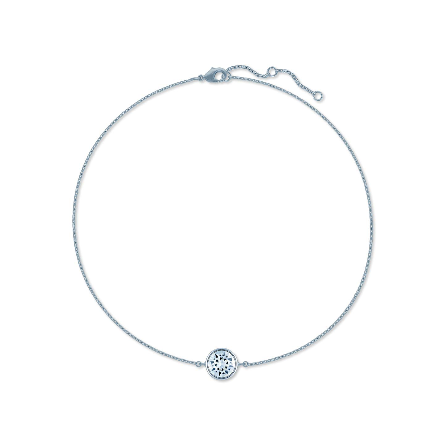 Ed Heart Chain Bracelet with White Clear Round Crystals from Swarovski Silver Toned Rhodium Plated