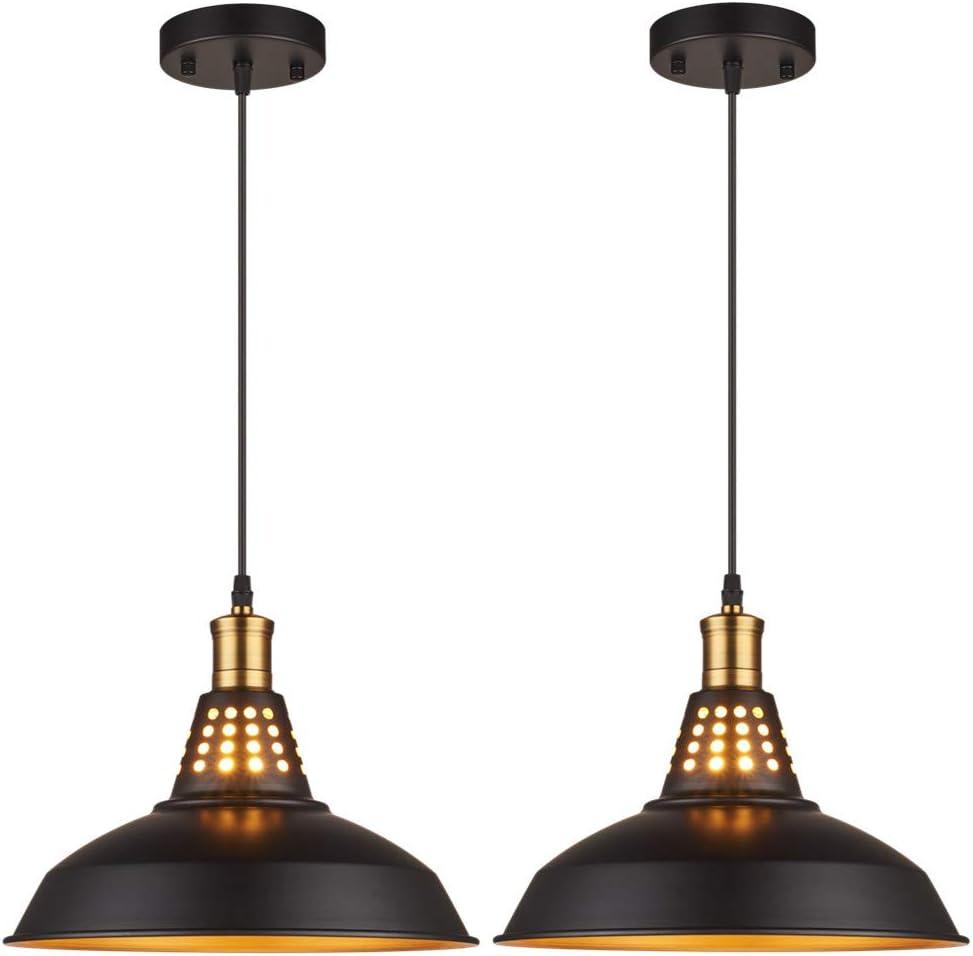 Amabao Lighting, 2 Lights, Black Metal Industrial Barn Pendant Lights, E26 Bulb Base,LED Bulbs Not Included