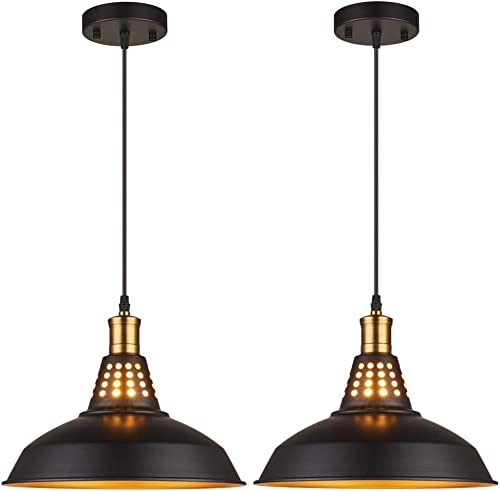Amabao Lighting, 2 Lights, Black Metal Industrial Barn Pendant Lights, E26 Bulb Base,LED Bulbs Not Included