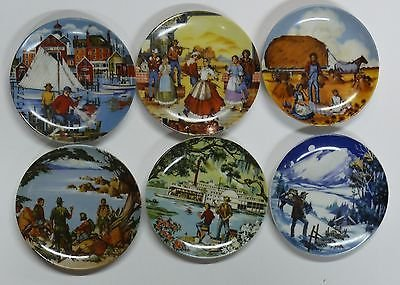 SET Of Six AVON PORTRAIT PLATES ; DEPICTING AMERICAN LIFE by Artist Don Sheffler ; 1985