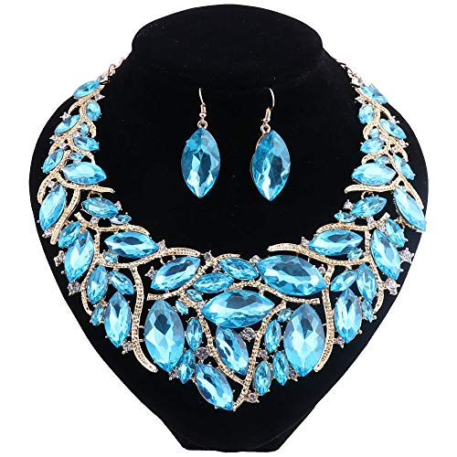 African Beads Jewelry Sets Women Bridal Crystal Statement Necklace Earring Jewelry Sets (Lake Blue)