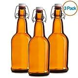 Chef's Star CASE OF 3 - 16 oz. EASY CAP Beer Bottles - AMBER