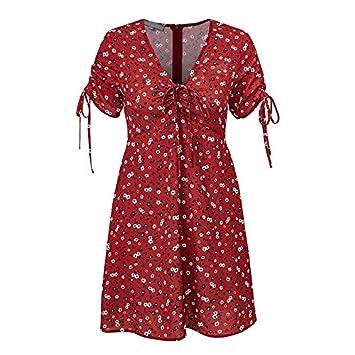 SONGQINGCHENG Vestido De Fiesta Floral Rojo con Cuello En V Vestido De Mujer Vestido Corto De