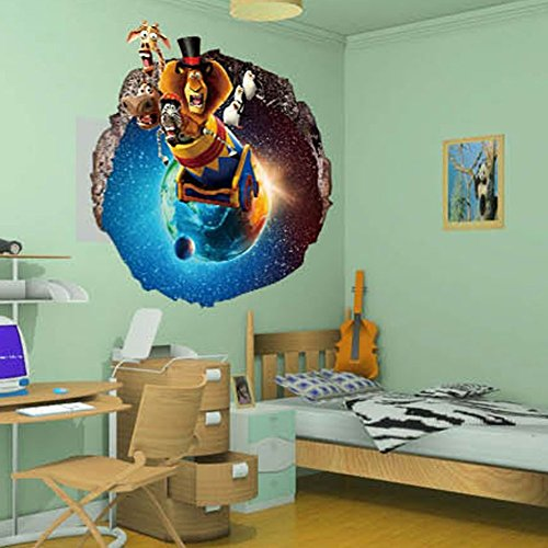 Fangeplus(TM) Cartoon 3D Madagascar Hole View Movie Sticker DIY Removable Art Mural Vinyl Waterproof Wall Stickers Kids Room Decor Nursery Decal Sticker Wallpaper 23.6''x23.6''