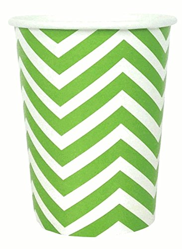 Just Artifacts Party Paper Cups - (12pcs) Green Apple Chevron - Paper Decorations for Birthday Parties, Weddings, Baby Showers, and Life (10 Ounce Green Apple)