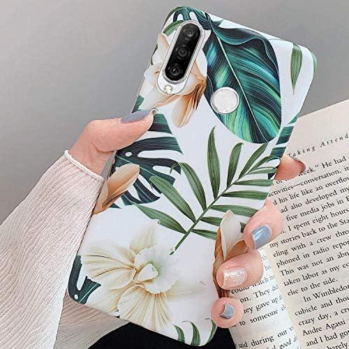 Uposao Kompatibel mit Huawei P30 Lite Hülle Silikon Ultra Dünn Handyhülle 3D Blumen Blätter Bunt Muster Weich TPU Schutzhülle Etui Kratzfest TPU Bumper Handytasche Case Cover,Weiß Blume