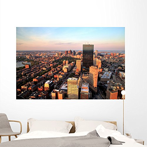 Aerial Boston Sunset Wall Mural by Wallmonkeys Peel and Stick Graphic (72 in W x 48 in H) - Downtown Is Where Boston