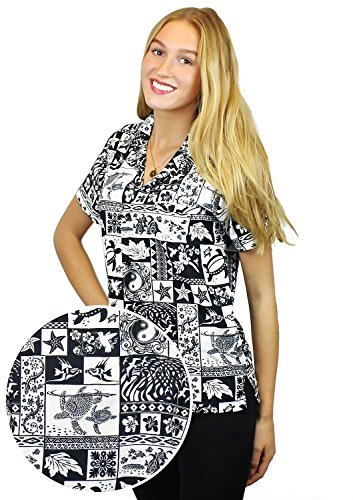V.H.O Funky Hawaiian Blouse Women Short-Sleeve Front-Pocket Traditional Puzzle Multiple Colors