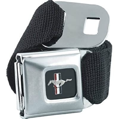 Official Licensed Mustang Car Logo Seatbelt Buckle with Canvas Black Webbing