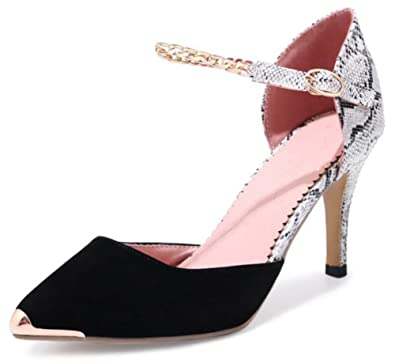 17a797a300f IDIFU Women s Trendy Ankle Strap Pointed Toe Faux Suede High Stiletto Heeled  Pumps Shoes (Black