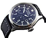 47mm Fanmis Flieger Big Pilot Black Dial Power Reserve Automatic Mens Womens Black Leather Strap Watch