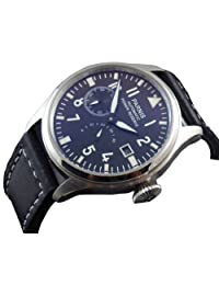 47mm Parnis Flieger Big Pilot Black Dial Power Reserve Automatic Mens Womens Leather Strap Watch