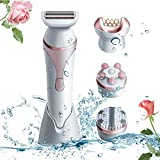 Epilator, Fishstar Womens Epilator Cordless 4 IN 1 Electric Hair Removal Razor Shaver with Shaver head, Epilator head, Facial Clean Brush Head and Massage Head Wet or Dry