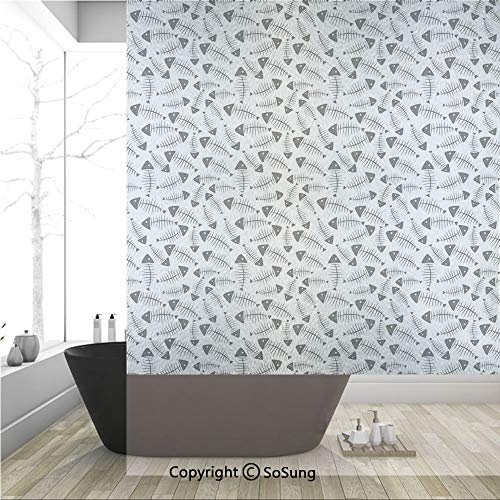3D Decorative Privacy Window Films,Funny Fish Bone Pattern Abstract Tattoo Style Artistic Modern Print,No-Glue Self Static Cling Glass Film for Home Bedroom Bathroom Kitchen Office 36x48 Inch ()
