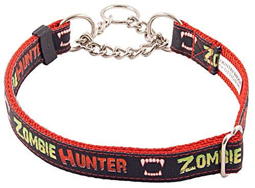 Country Brook DesignZombie Hunter Grosgrain Ribbon Half Check Dog Collar - Large