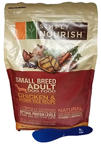 Simply Nourish Small Breed Adult Dry Dog Food - Natural, Chicken & Brown Rice, 6lbs with Especiales Cosas Mixing Spatula