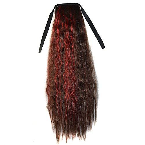 Abwin Mixed Color Bundled Corn Hot Roll Ponytail / Dark Brown and Red (Corn Roll Hairstyle)