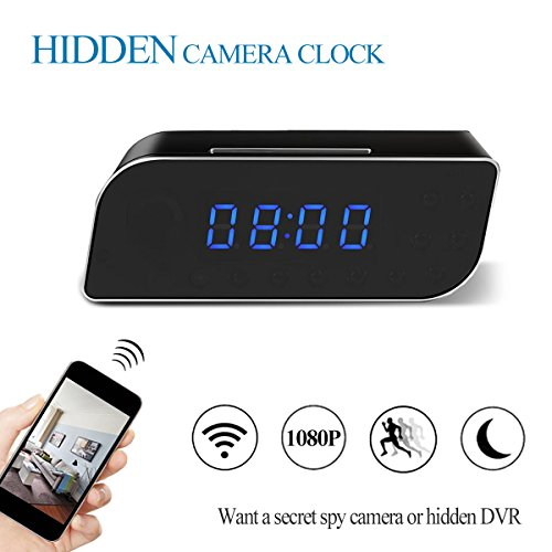 KAMRE WIFI Hidden Spy Camera Alarm Clock, HD 1080P Wireless Mini Video Recorder with Motion Detection and Night Vision, Nanny Cam for Home Security Surveillance, Support IOS/Android/Windows