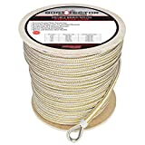 """Extreme Max 3006.2270 BoatTector 1/2"""" Premium Double Braid Nylon Anchor Line with Thimble, White & Gold / 600'"""