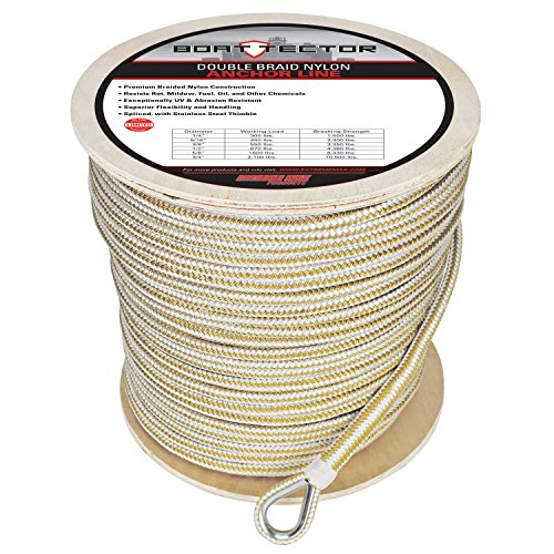 (Extreme Max 3006.2270 BoatTector Double Braid Nylon Anchor Line with Thimble - 1/2