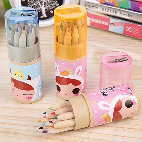 Myoffice 12色 多色鉛筆 絵画削り ボックスつき キッド 児童 スケッチセット 絵画用品 プレゼントの商品画像
