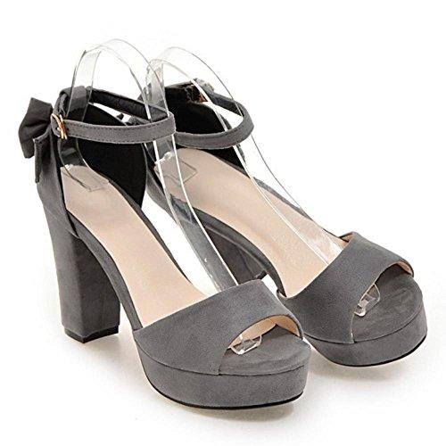 COOLCEPT Mujer Western Tacon Ancho Al Tobillo Sandalias Punta Abierta Zapatos With Bowknot Gris