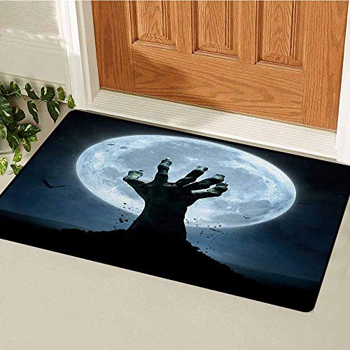 GUUVOR Halloween Welcome Door mat Realistic Zombie Earth Soil Full Moon Bat Horror Story October Twilight Themed Door mat is odorless and Durable W35.4 x L47.2 Inch Blue Black]()