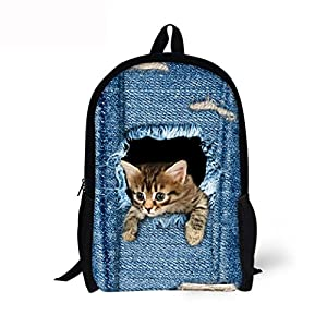 Cute Backpack Denim Cat Dog Laptop Backpack School Bag Rucksack Daypack for Women Men Girls Boys College Bookpack