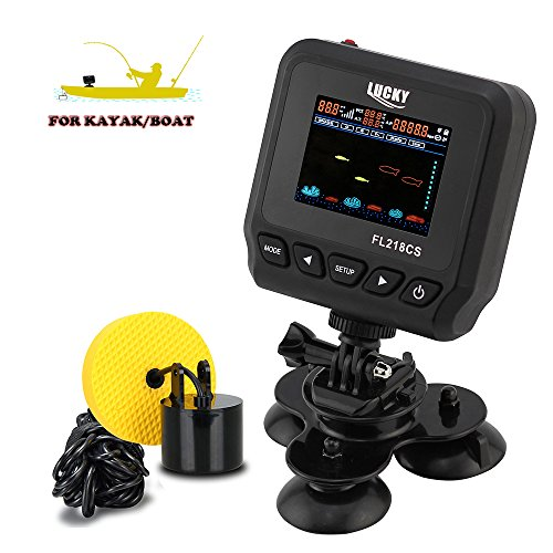 LUCKY Fish Finder for Kayak, Depth Finder Range in 328FT by Wired Transducer Built-in Various Fishing Modes Options for Sea Fishing, Ice Fishing and Shore Fishing - Depth Only Transducer