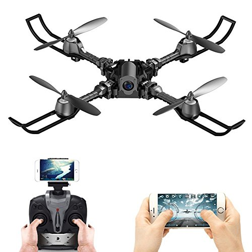 RC Drone Foldable Remote Control FPV VR WiFi Quadcopter 2.4GHz 6-Axis Gyro 4CH Helicopter with Camera Aircraft Video Time Transmission RTF Black