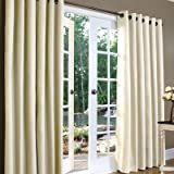 Weathermate Solid Cotton Grommet Top Curtain (Set of 2) Size: 84″ H x 160″ W, Color: Natural For Sale