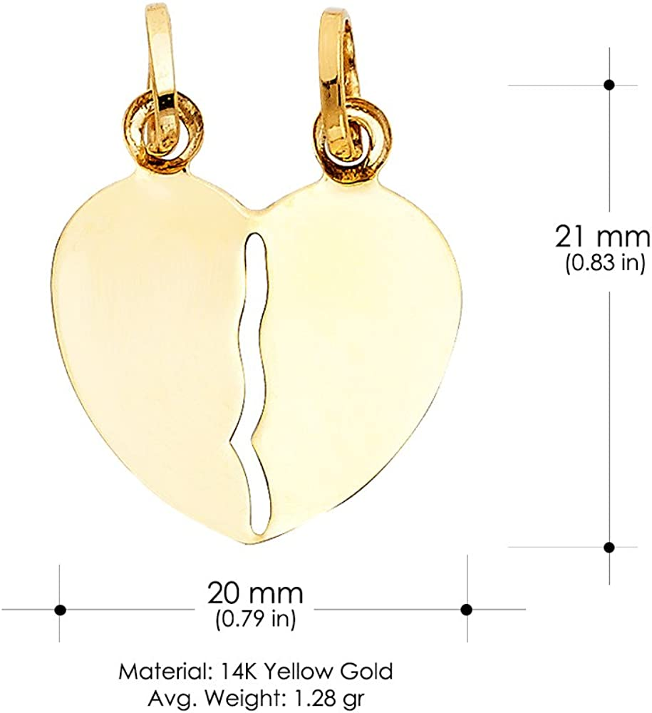 14K Yellow Gold Broken Heart Charm Pendant with 1.5mm Flat Open Wheat Chain Necklace