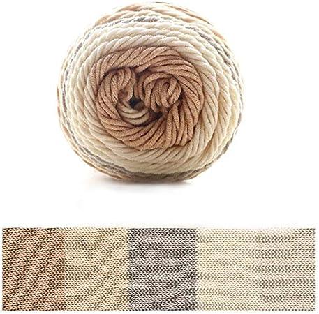 Xiuinserty - Hilo de algodón para tejer (100 g, 5 hebras, ovillo de lana de algodón tejida a mano para manta) J: Amazon.es: Hogar
