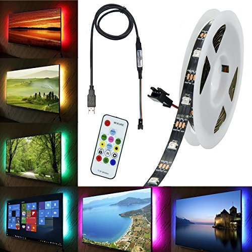 TV Backlight WS2812B LED Strip Light Bias Lighting with 3.9ft Mini DC5V USB Port Cable &RF 14Key SP103E Remote Controller for TV LCD Desktop PC Bar Decoration(9.8ft Non-Waterproof IP20) -  Wixure
