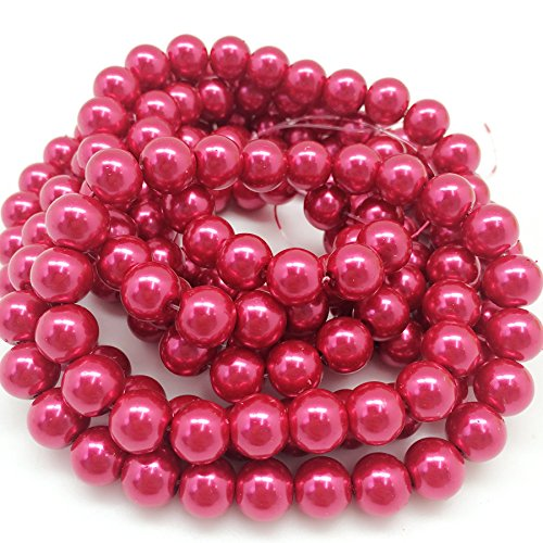 (PEPPERLONELY Brand 2 Strands (About 170 PC 220Grams) Deep Pink Glass Pearl Round Beads, 10mm(3/8 Inch))